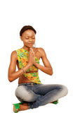 Yoga prayer girl Stock Photo