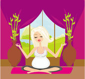Yoga for pregnant woman Royalty Free Stock Photos