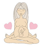 Yoga pregnant woman in lotus position Stock Photos