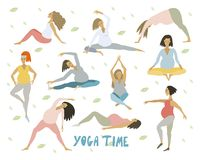 Yoga for pregnant Healthy women with belly doing yoga in different poses set royalty free illustration