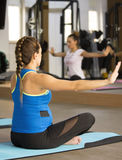 Yoga for pregnant women. Pregnant women in maternity yoga at the gym stock image