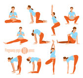 Yoga for pregnant women. Pregnancy yoga. Yoga for pregnant women. Doing Stretches and Light Weight Aerobics. Yoga Excersises. Vector illustration Royalty Free Stock Images