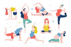 Yoga for pregnant women vector flat illustration isolated on white background. Healthy women with belly doing yoga in vector illustration