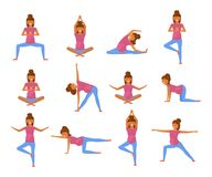 Yoga for pregnant women. In flat style. Set of characters isolated on white background. Vector Illustration eps 10 Stock Image