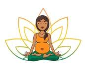 Yoga prenatal Vector el ejemplo de la muchacha india linda joven que medita en la posición de loto con los pétalos de la flor en  stock de ilustración