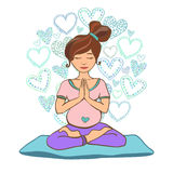 Yoga prenatale di scarabocchio Immagini Stock