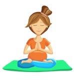 Yoga prenatale nella posa del loto Fotografie Stock