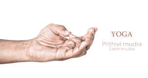 Yoga Prithivi mudra. Hand in Prithivi mudra by Indian man isolated at white background. Gesture for balancing energy of lower abdoman. Free space for your text Stock Images