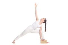 Yoga with props, Extended Side Angle Pose Royalty Free Stock Photography