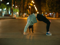 Yoga in a public place Royalty Free Stock Photo