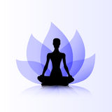 Yoga purple lotus woman Stock Photography