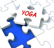 Yoga Puzzle Shows Meditate Meditation Health Royalty Free Stock Image