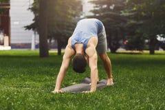 Yoga que estira vector Hombre en actitud del perro al aire libre Imagen de archivo