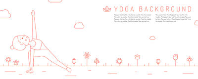Yoga red horizontal background with young woman and flowers. Royalty Free Stock Photos