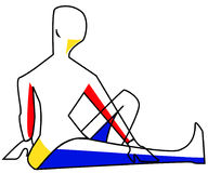 Yoga 1. Red , yellow and Blue figure in yoga pose Stock Images