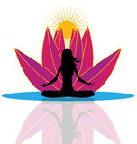 Yoga reflection and pink lotus flower logo. Illustration vector design Royalty Free Stock Photo