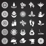 Yoga related icons set on black background for graphic and web design. Simple vector sign. Internet concept symbol for. Website button or mobile app stock illustration
