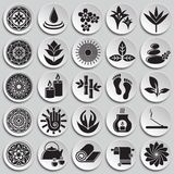 Yoga related icons set on plates background for graphic and web design. Simple vector sign. Internet concept symbol for. Website button or mobile app vector illustration