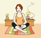 Yoga relax. A woman in yoga relax; digital colors Stock Image