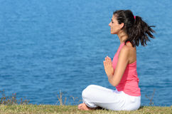 Yoga relax and breathing exercise Stock Photo