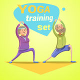 Yoga retro cartoon Royalty Free Stock Photo