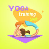 Yoga retro cartoon Royalty Free Stock Images
