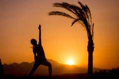Yoga Reverse Warrior Pose. Silhouette of young woman practicing fitness, yoga or pilates at sunset in beautiful location with mountains and palm trees, doing stock image
