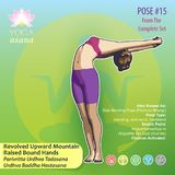 15 YOGA Revolved Upward Mountain Pose. Illustration of Yoga Exercises with full text description, names and symbols of the involved chakras. Female figure Royalty Free Stock Photos