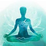 Yoga, rilassamento e meditazione Priorità bassa dell'acquerello royalty illustrazione gratis