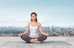 Yoga on the roof top Stock Images