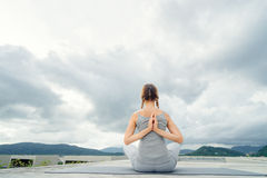 Yoga on rooftop. Royalty Free Stock Photos