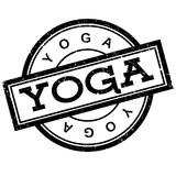 Yoga rubber stamp. Grunge design with dust scratches. Effects can be easily removed for a clean, crisp look. Color is easily changed stock illustration