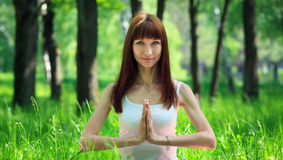 Yoga salutation pose Stock Photos