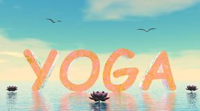 Yoga scene - 3D render Stock Photo