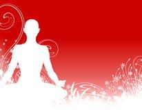 Yoga-Schattenbild-Hintergrund Stockbilder
