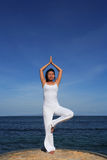 Yoga by Sea royalty free stock photos