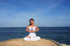 Yoga by Sea Royalty Free Stock Image