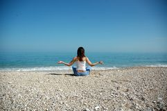 Yoga and sea. Yoga at the adriatic sea from italy stock photography