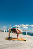Yoga on the sea background Stock Images