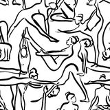 Yoga seamless pattern with black silhouettes of women. Royalty Free Stock Image