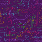 Yoga seamless pattern with colorful silhouettes of women. Stock Photos