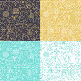 Yoga seamless patterns. Vector seamless pattern with icons and signs in trendy linear style - yoga concepts - design templates for packaging and posters vector illustration
