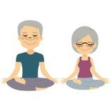 Yoga Senior Couple. Senior couple doing yoga exercises training together royalty free illustration