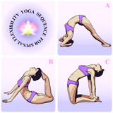 YOGA Sequence for Spinal Flexibility. Graphic Illustration Of Yoga Poses Sequence for Spinal Flexibility Stock Photo
