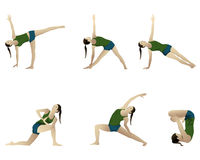 Yoga series 6 positions. Royalty Free Stock Image