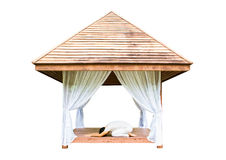 Yoga session in wooden shelter Stock Image