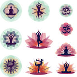 YOGA set. Set of illustrations with yoga positions and floral backgrounds Royalty Free Stock Photo