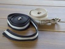 Yoga set block belts strap mat on wood. For help do yoga better Royalty Free Stock Photo