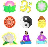Yoga set. Set of  images about yoga and meditation Stock Photo