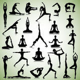 Yoga set of people. Male and female silhouettes of  yogi Royalty Free Stock Image